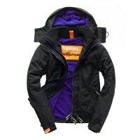 Superdry極度乾燥商品推薦美國百分百【全新真品】Superdry 極度乾燥 風衣 連帽 外套 防風 夾克 刷毛 黑色 深紫 女 F855