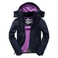 Superdry極度乾燥商品推薦美國百分百【全新真品】Superdry 極度乾燥 風衣 連帽 外套 防風 夾克 刷毛 深藍 紫色 女 F855