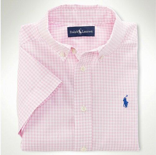 美國百分百【全新正品】Ralph Lauren Polo 夏季新款 淺粉紅 淡粉紅 格紋 小馬 短袖 襯衫 男上衣 XS S號 人氣 限時 特價 免運費