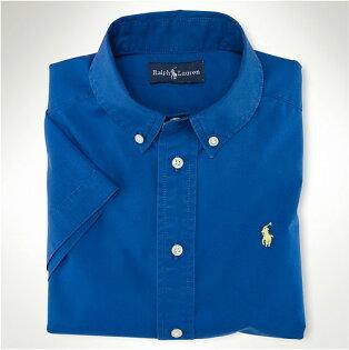 美國百分百【全新真品】Ralph Lauren 短袖襯衫 Polo 上衣 男款 棉質 襯衫 寶藍色 上衣 黃馬 反摺袖 S號 A093