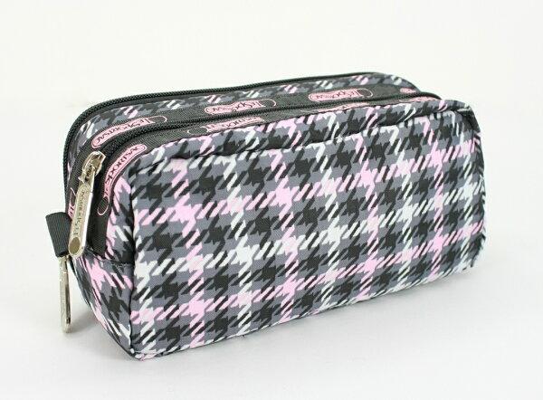 美國百分百【全新真品】Lesportsac 5823 d043 彩色格紋 手拿收納 小方包 化妝包 鉛筆盒 超取