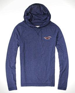 美國百分百【全新真品】Hollister Co. HCO 男 海鷗 帽T 藍色 連帽 長袖 T恤 套頭 外套 S M號