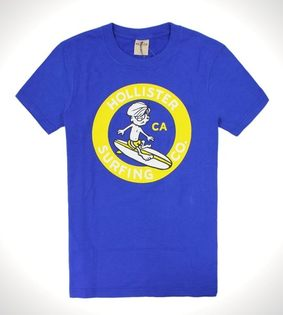 美國百分百【全新真品】Hollister Co T恤 HCO 男衣 寶藍色 短袖 T-shirt 海鷗 阿丹 上衣 S號 A750
