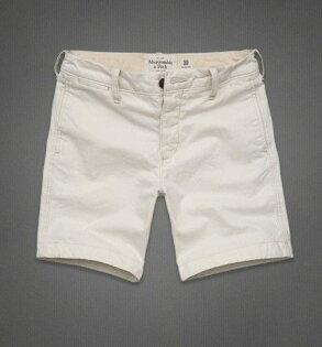 美國百分百【全新真品】Abercrombie & Fitch 褲子 AF 短褲 工作褲 經典 白色 淺卡其 33 33腰 男褲
