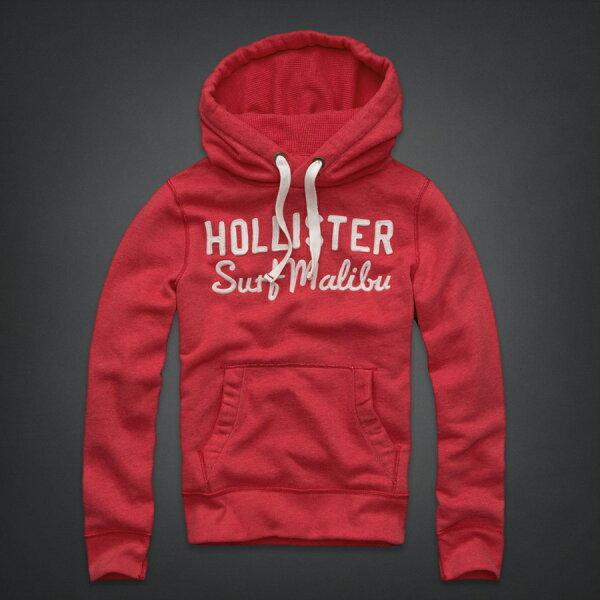 美國百分百【全新真品】Hollister Co. 帽T HCO 連帽T恤 外套 長袖 海鷗 大尺 厚棉 桃紅 男 XL號 B514