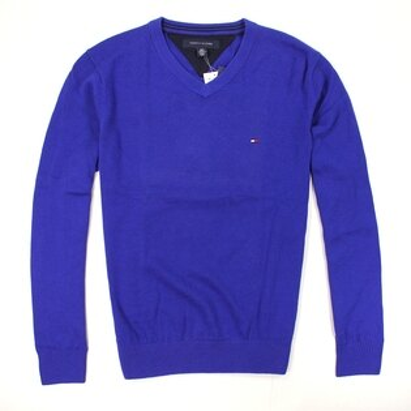 美國百分百【全新真品】Tommy Hilfiger 針織衫 TH 線衫 V領 素面 純棉 毛衣 男衣 寶藍 S號 B606