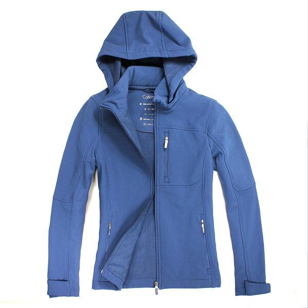 美國百分百【全新真品】Calvin Klein 外套 CK 連帽 夾克 防風 防水 類軟殼 藍色 保暖 透氣 限量 女 S號