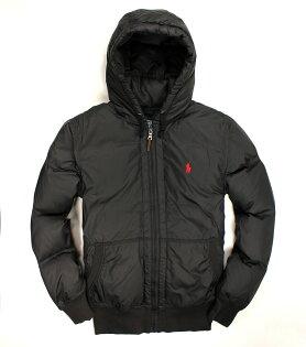 美國百分百【全新真品】Ralph Lauren 外套 RL 羽絨外套 連帽 夾克 Polo 小馬 黑 皮革 男 S號 B598