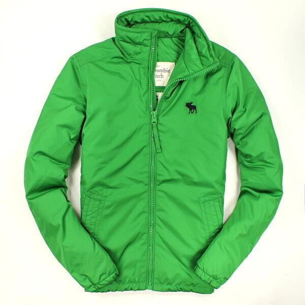 美國百分百【全新真品】Abercrombie & Fitch 外套 AF 夾克 鋪棉外套 麋鹿 綠 厚 立領 男 M號 B706