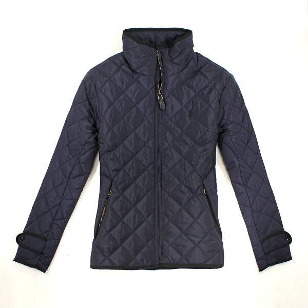 美國百分百【全新真品】Ralph Lauren 外套 RL 鋪棉 夾克 大衣 Polo 小馬 菱格紋 專櫃 深藍 女 S