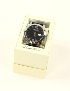 美國百分百【全新真品】Kenneth Cole 手錶 KC 配件 石英錶 真皮錶帶 大表面 數字 禮物 黑 男 女 1751