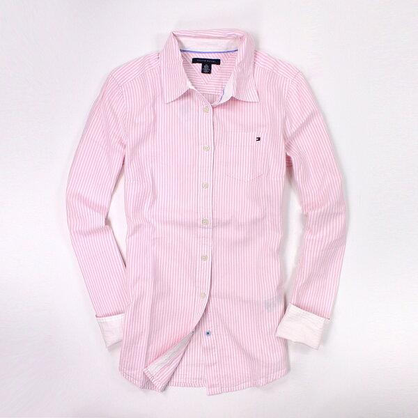 美國百分百【全新真品】Tommy Hilfiger 襯衫 TH 長袖 上衣 工作衫 休閒衫 粉紅 條紋 純棉 女衣 M號