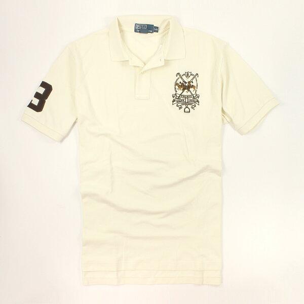 美國百分百【全新真品】Ralph Lauren Polo衫 RL 短袖 上衣 Polo 群馬 米白 純棉 男衣 L號 C250