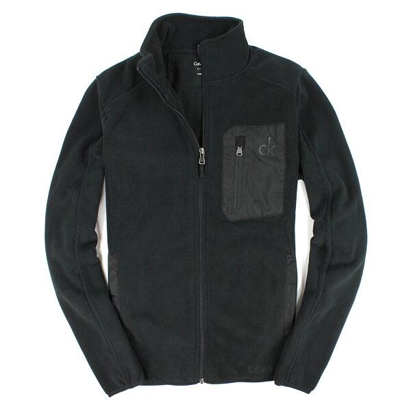 美國百分百【全新真品】Calvin Klein 外套 CK 夾克 刷毛外套 黑 立領 彈性 快乾 Logo 保暖 厚 男 S M