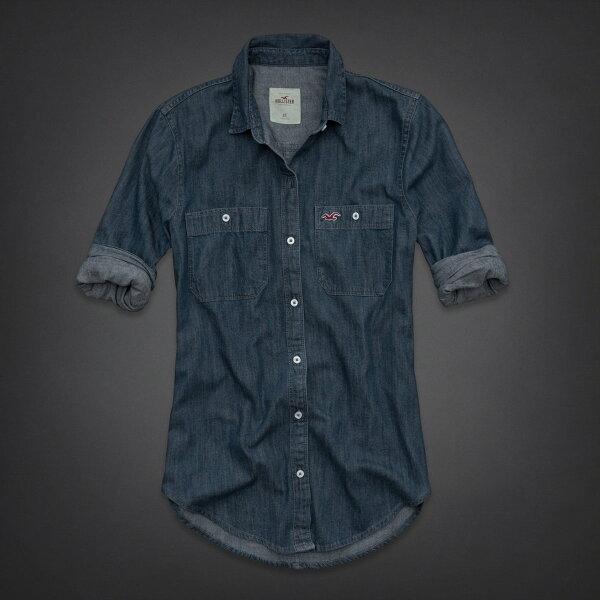 美國百分百【全新真品】Hollister Co. 襯衫 HCO 上衣 洋裝 長袖 海鷗 深藍 牛仔 長版 純棉 女 M L號