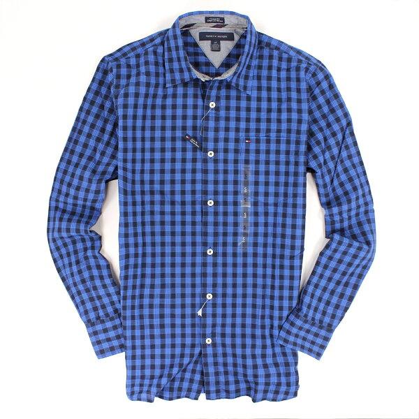 美國百分百【全新真品】Tommy Hilfiger 襯衫 TH 長袖 上衣 寶藍 格紋 純棉 口袋 休閒 上班 男 XS號