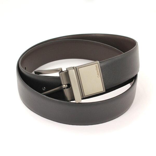 美國百分百【全新真品 】Calvin Klein 皮帶 CK 配件 腰帶 黑 咖啡 兩用 皮質 金屬 西裝 男用 36 38 40 42腰 F740