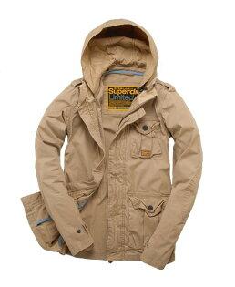 美國百分百【全新真品】Superdry 外套 連帽 軍外套 夾克 極度乾燥 立體 純棉 卡其 口袋 刺繡 男 S號