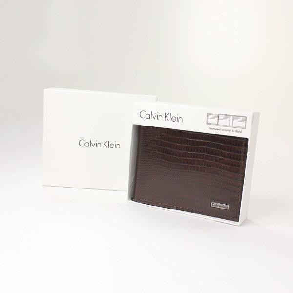 美國百分百【全新真品】Calvin Klein 皮夾 CK 短夾 咖啡 鱷魚皮 真皮 三折 皮革 質感 鈔票 男 B361