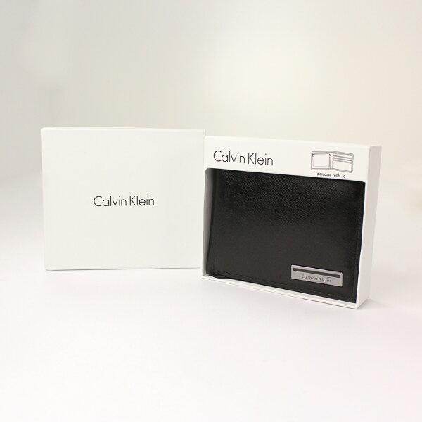 美國百分百【全新真品】Calvin Klein 皮夾 CK 短夾 黑 真皮 菱格紋 小牛皮 質感 鈔票 男夾 A682