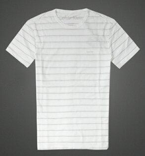 美國百分百【全新真品】Calvin Klein T恤 CK 短袖 上衣 T-shirt 短T 白 條紋 純棉 大尺 男 S M L XL XXL