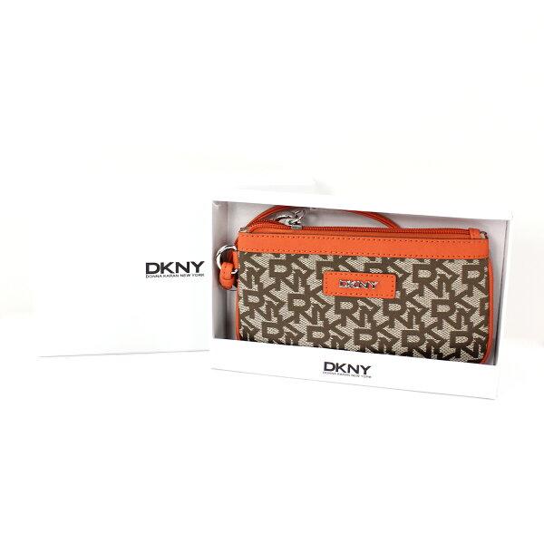 美國百分百【全新真品】DKNY 手拿包 橘色 手機 錢包 皮包 提花布 禮盒 皮革 經典 Logo 女 A693