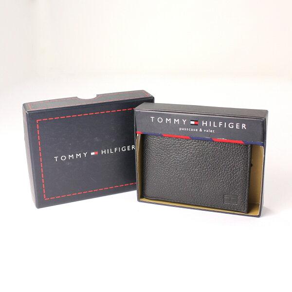 美國百分百【全新真品】Tommy Hilfiger 皮夾 TH 短夾 黑 荔枝皮 真皮 小牛皮 禮盒 照片 男夾 A725