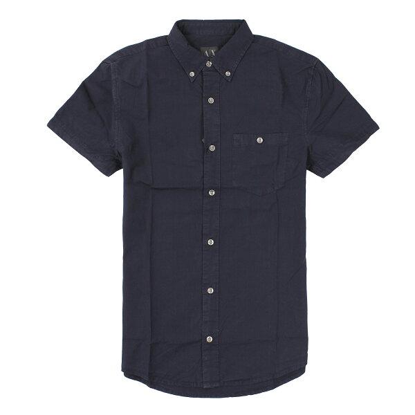 美國百分百【全新真品】Armani Exchange 襯衫 AX 短袖 上衣 休閒衫 深藍 素面 口袋 薄 春夏 男 S號
