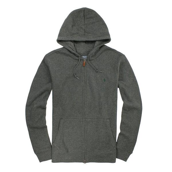 美國百分百【全新真品】Ralph Lauren 外套 RL 連帽外套 Polo 小馬 鐵灰 厚棉 皮革 大尺 男 XL B585