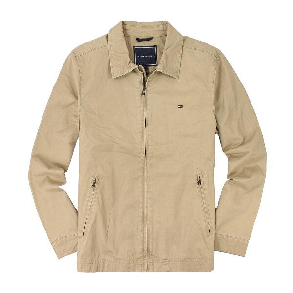 美國百分百【全新真品】Tommy Hilfiger 外套 TH 夾克 軍外套 卡其 帆布 立領 防風 硬挺 男 M號 B997