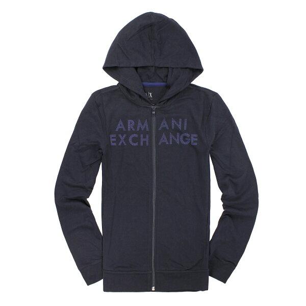 美國百分百【全新真品】Armani Exchange 外套 AX 連帽外套 夾克 亞曼尼 深藍 Logo 男 M號 A792