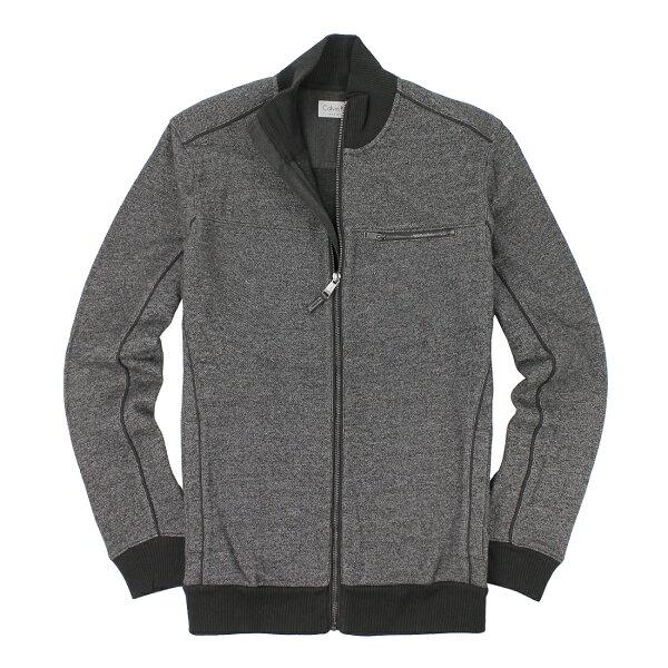 美國百分百【全新真品】Calvin Klein 外套 CK 夾克 Logo 針織 立領 灰色 口袋 厚棉 男 S L號 A865