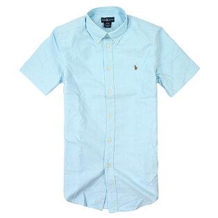 美國百分百【全新真品】Ralph Lauren 襯衫 RL 短袖 上衣 休閒衫 Polo 彩馬 牛津布 小馬 淺藍 男 XS號 E033