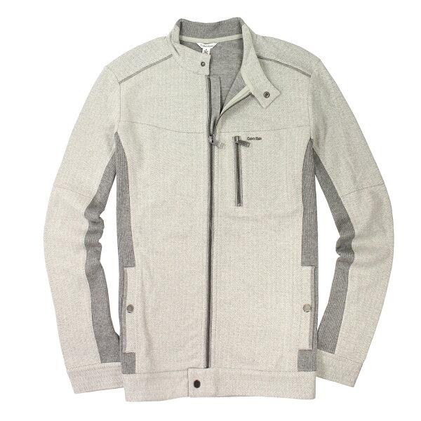 美國百分百【全新真品】Calvin Klein 外套 CK 夾克 上衣 灰 型男 Logo 特殊領 雙重布料 男 M號 E058