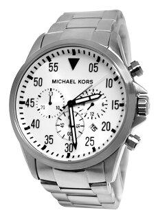 美國百分百【全新真品】Michael Kors 手錶 MK 配件 腕表 三眼 日本機蕊 銀 不鏽鋼 夜光 男 免運 8331