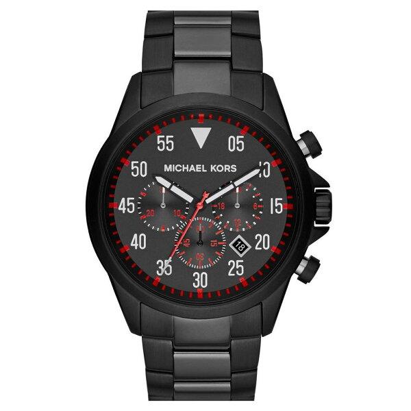 美國百分百【全新真品】Michael Kors 手錶 MK 配件 腕表 三眼 黑 不鏽鋼 男 免運 8332