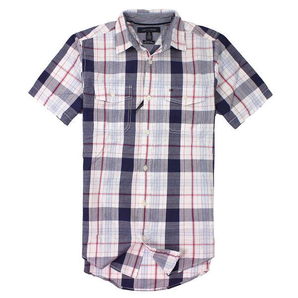 美國百分百【全新真品】Tommy Hilfiger 襯衫 TH 短袖 上衣 白藍紅 雙口袋 Logo 純棉 格紋 男 XS S