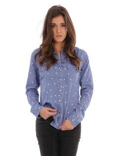 美國百分百【全新真品】Roxy 襯衫 長袖 上衣 牛仔 圓點 雙口袋 棉質 女衣 雙口袋 XS號