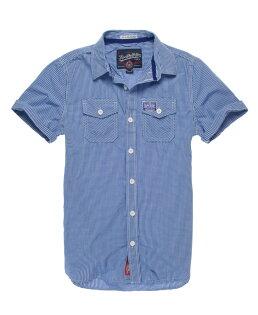 美國百分百【全新真品】Superdry 襯衫 短袖 上衣 格紋 深藍 雙口袋 極度乾燥 純棉 男 XXXL號 C369