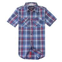 Superdry極度乾燥商品推薦美國百分百【全新真品】Superdry 襯衫 短袖 上衣 格紋 雙口袋 深藍 極度乾燥 純棉 男 S XL號