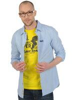 Superdry極度乾燥商品推薦美國百分百【全新真品】Superdry 襯衫 長袖 上衣 素面 口袋 淡藍 極度乾燥 純棉 男 S M L XL號