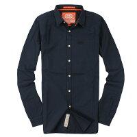 Superdry極度乾燥商品推薦美國百分百【全新真品】Superdry 襯衫 長袖 上衣 素面 口袋 深藍 極度乾燥 純棉 男 S M XL號
