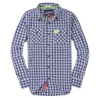 Superdry極度乾燥商品推薦美國百分百【全新真品】Superdry 襯衫 長袖 上衣 格紋 口袋 藍 極度乾燥 純棉 男 L XL XXL號