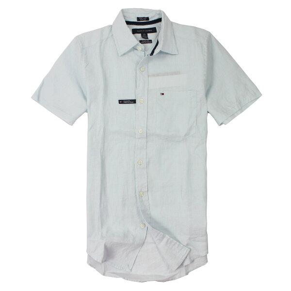 美國百分百【全新真品】Tommy Hilfiger 襯衫 TH 短袖 淡藍 Logo 薄紗 男衣 XXS XS號