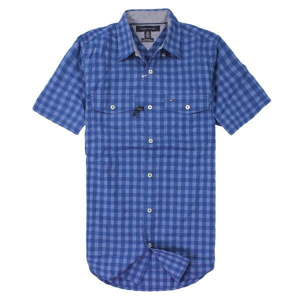 美國百分百【全新真品】Tommy Hilfiger 襯衫 TH 短袖 上衣 寶藍 雙口袋 Logo 純棉 格紋 男 XS S號 C323