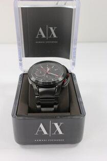 美國百分百【全新真品】Armani Exchange  手錶 AX 配件 腕表 阿曼尼 黑 三眼 不鏽鋼 男 免運 8270
