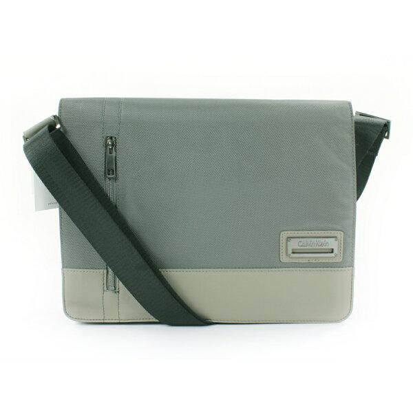 美國百分百【全新真品】Calvin Klein CK 織布 公事包 肩背包 斜跨包 郵差包 灰綠色 E120
