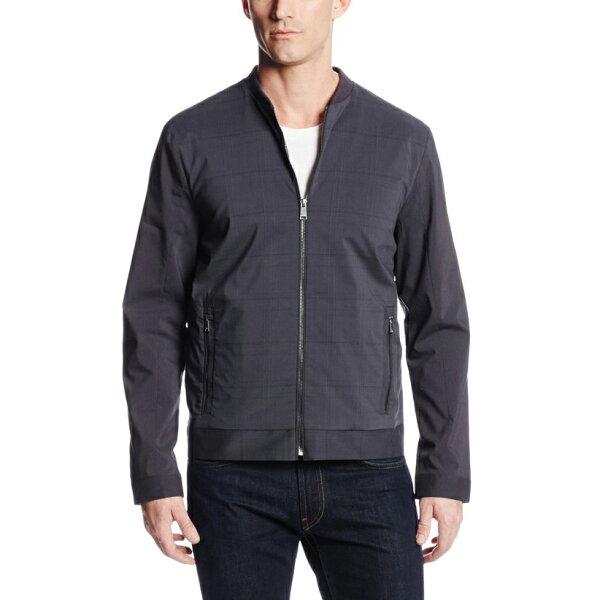 美國百分百【全新真品】Calvin Klein 外套 CK 夾克 立領 格紋 拉鏈 棒球 男衣 深灰色 L號 E164