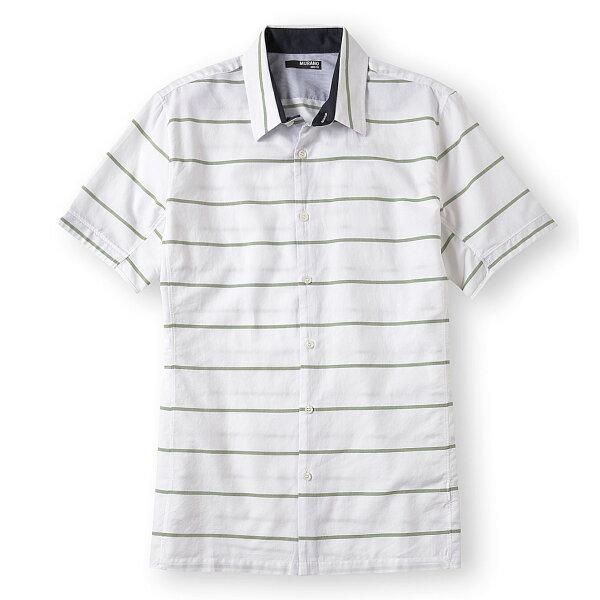 美國百分百【全新真品】MURANO 襯衫 短袖 上衣 上班 休閒 條紋 專櫃 合身 綠 白色 男 S XS號 E189