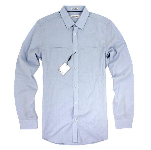 美國百分百【全新真品】Calvin Klein 襯衫 CK 長袖 上衣 休閒衫 淺藍色 純棉 紋 男 S號 E190